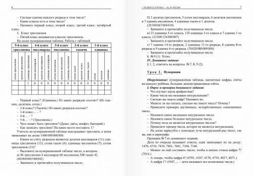 Планирование уроков по арифметике для 5 класса